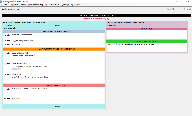 Downloads - Meeting Schedule Creator - ToolsLib